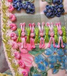 I ❤ embroidery & crazy quiling . . .   Details on Ingeborg's block