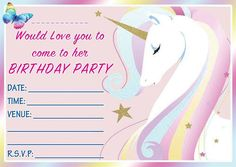 Fill in birthday party invitations printable rainbows and unicorns free free birthday party invites for kids stopboris Image collections