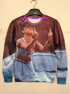 Rihanna Middle Finger Pullover Shirt material is cotton and polyester solid pattern type pullover  fabric type is broadcloth front and back print is the same  sleeve length full not a lot of stretch **This item is pre-order only please allow regular processing time of 5-15 days before shipped**