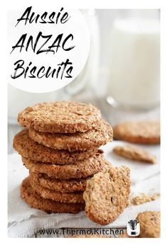 Make traditional Australian ANZAC biscuit today! They're sweet & buttery, such an Australian flavour especially on ANZAC day. The recipe is given for Thermomix or by hand. Vegan Breakfast Recipes, Vegan Recipes Easy, Great Recipes, Anzac Biscuits, Golden Syrup, Biscuit Recipe, Salted Butter, Protein Foods, Fruit Smoothies