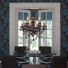 Dining room in turquoise and brown