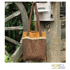 Novica Handcrafted 'Golden Earth Paths' Medium Shoulder Bag