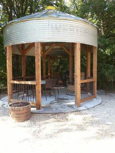 Rebar grain bin gazebo.  We finished ours last week. Looks pretty cool.