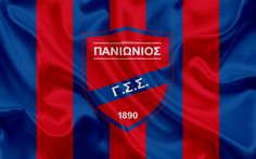 Download wallpapers Panionios FC, 4k, Greek football club, emblem, Panionios logo, Super League, championship, football, Nea Smirni, Greece, silk texture, flag
