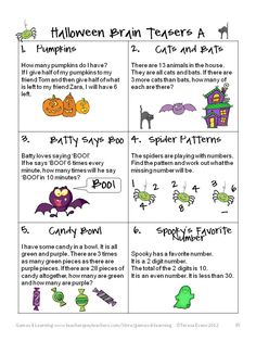 Kids love Halloween and Halloween can be a great way to motivate kids in math! That's why I have created some Halloween Math Games and Puzz. Halloween Math Worksheets, 4th Grade Math Worksheets, Maths Puzzles, Math Activities, Math Games, Fun Games, Halloween Puzzles, Halloween Jokes, Halloween Patterns