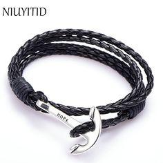 NIUYITID 40cm PU Leather Men Bracelet Jewelry Man Anchor Bracelet Wristband Charm Braclet For Male Accessories Hand Cuff <3 Haga clic en la imagen para una descripción detallada