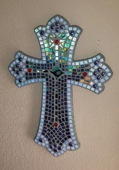 Pictures of Mosaic Crosses | Large mosaic cross with iridescent stained glass by SacredArtwork, $ ...