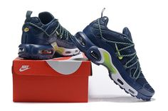 d1782191e9 Best Sell Nike Air Max Plus TN Mens Resistant Breathable Sneakers Dark Blue  White-Green