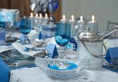Chanukah dinner party tablescape.