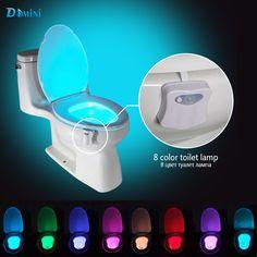 Led lampu malam lampu toilet dengan motion sensor 8 warna nightlights toilet kursi toilet mangkuk lampu diaktifkan nightlights kamar mandi