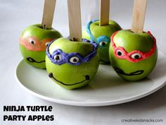 So much FUN!!  These Teenage Mutant Ninja Turtle are a comical, healthy and yummy treat!  We'll be making these with the kids this weekend!!