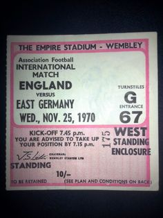 England v East Germany Football Ticket Stub 25/11/1970 FA International Listing in the Internationals,Ticket Stubs,Football (Soccer),Memorabilia & Fan Store,Sport Memorabilia & Cards Category on eBid United Kingdom