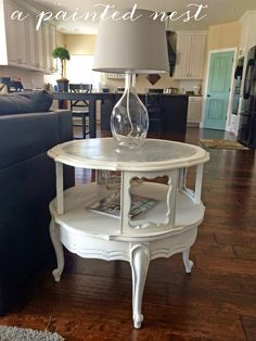 Tables Spray Painted In Slate Blue Satin By Rustoleum Loving This - Painted round end table