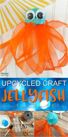 Upcycled Craft | Jellyfish Water Bottle on Frugal Coupon Living. A Fun way to reuse a plastic water bottle and have fun creating a new use with the kids!