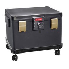 Honeywell 1.06 Cubic Ft. Key Lock Legal Size Waterproof & Fire Resistant File Security Chest with Wheel Cart