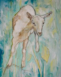 """""""Got Your Goat, White"""" by  Katherine Mcclure. 20 x 16 inches. Acrylic on gallery wrapped canvas."""