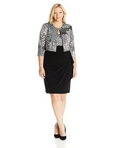 MSK Womens Plus Size Peacock Printed Jacket Dress BlackWhite 18W * You can get more details by clicking on the image.(This is an Amazon affiliate link and I receive a commission for the sales)