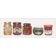 """cc, thea gouverneur: Jam Pot On Aida Counted Cross-Stitch Kit, 5"""" x 14"""", 18-Count"""