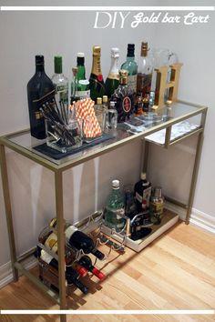 This is the same piece of ikea furniture that I want for a vanity! DIY Gold bar cart, diy bar cart ikea hack, diy bar cart