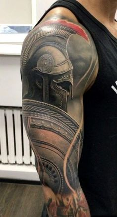 I quite simply adore the different colors, outlines, and linework. - I quite simply adore the different colors, outlines, and linework. Warrior Tattoo Sleeve, Armor Tattoo, Tribal Sleeve Tattoos, Warrior Tattoos, Best Sleeve Tattoos, Badass Tattoos, Viking Tattoos, Tattoo Sleeve Designs, God Tattoos
