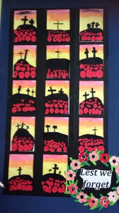 ANZAC - larger poppies for foreground and smaller for background, remembrance day, warm colours, silhouette Remembrance Day Activities, Remembrance Day Poppy, Anzac Poppy, 3rd Grade Art, Grade 3, Ww1 Art, Poppy Craft, Anzac Day, Ecole Art