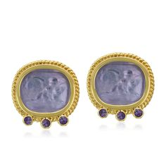 18K Gold Amethyst and Venetian Glass Earrings Designed By The Mazza Company