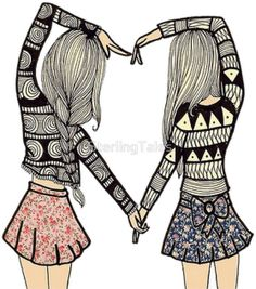 Cute bff friendship drawing shared by lea on we heart it