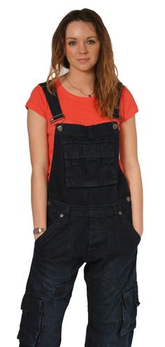 Latzhose (dungarees)  - Relaxed Fit - dark wash