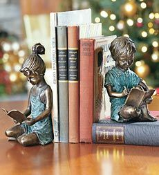 Reading Children Brass Bookends