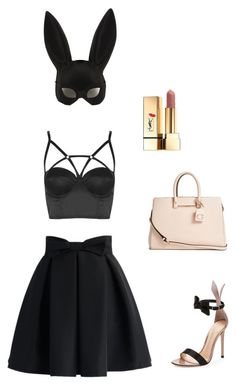 """""""Bunny"""" by cora-mccutcheon ❤ liked on Polyvore featuring Chicwish, Masquerade, Topshop, Gianvito Rossi, GUESS, Yves Saint Laurent, Bunny, mask and Costume"""