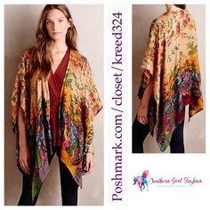 """ANTHROPOLOGIE Kimono Floral Printed Scarf Poncho One size.  New with tags.  $98 Retail + Tax.  Gorgeous sheer floral print kimono which can also be worn as a cape, scarf or wrap. Slightly sheer.  By Raj for Anthropologie.   Rayon. Imported.  Length: 65"""" Width: 40""""   ❗️ Please - no trades, PP, holds, or Modeling.    Bundle 2+ items for a 20% discount!    Stop by my closet for even more items from this brand!  ✔️ Items are priced to sell, however reasonable offers will be considered when…"""