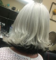 White Blonde Long Bob With Black Underlayer