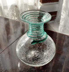 Blenko Clear Crackle Glass Vase, Blenko Decanter, Handblown Glass, Handmade Glass, Decorative Art Glass, Gourd Shaped Glass Vase Decanter by SierrasTreasure on Etsy