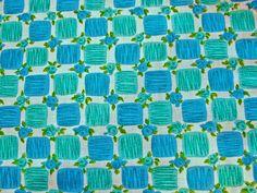 Vintage Fabric 1960s Blue Turquoise Cotton Fabric Squares