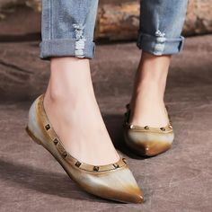 51d53a29b Womens handmade Leather Pointed Toe Nude Shoes Rivets Decorate Flats