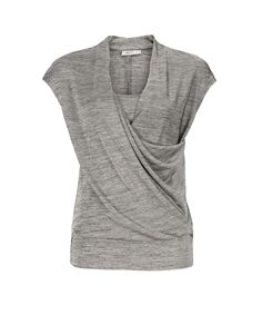 Extended Shoulder Wrap Front Top, Grey Mix