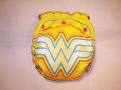 Semi custom Wonder Women hybrid OS or 2 sized fitted cloth diaper