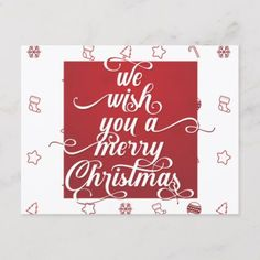 We Wish You Merry Christmas Red White Typography Holiday Postcard - merry christmas postcards postal family xmas card holidays diy personalize Merry Christmas Wishes Text, Wish You Merry Christmas, Red Christmas, Christmas Gifts, Christmas Stuff, Christmas Typography, Xmas Cards, Greeting Cards, Holiday Postcards