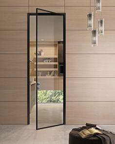 Szklane drzwi w czarnej ramce w stylu loft - EKO-DAR - drzwi włoskie, podłogi, Gdańsk i Gdynia