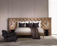 Leather bed in a spacious room, shades of brown