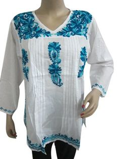 Summer Cotton White Top Tunic with Blue Embroidery Work Size M Mogul Interior,http://www.amazon.com/dp/B00CG113IO/ref=cm_sw_r_pi_dp_X52jsb19CAN03M15