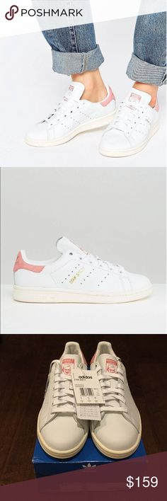 Adidas originals Stan Smith light baby pink suede Brand new! 100% authentic. White leather upper, pink suede counter back. Comes with shoebox. These shoes are originally men's size 5.5, you need to add 1.5-2 sizes for women's size. So this pair should fit size 7-7.5. Please see the last picture for the size chart. NO TRADE!! adidas Shoes