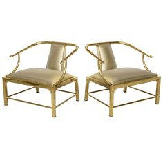 Vintage Pair of Brass Faux Bamboo Low Chairs- Jansen | From a unique collection of antique and modern chairs at https://www.1stdibs.com/furniture/seating/chairs/