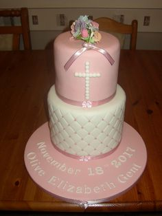 christening cake two tier pink flowers Sweet Sixteen, Cakes And More, Sweet 16, Birthday Cakes, Christening, Pink Flowers, Celebration, Desserts, Food