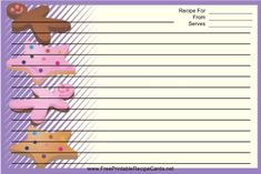 This Star Gingerbread Cookies Purple Recipe Card features colorful star and gingerbread man shaped cookies on a purple and white background. Free to download and print