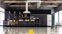 contemporary kitchen, Industrial Black Kitchen White Feature Extractor Fan Polished Wooden Floors Black Matte Focus Black Kitchen Cupboards Pinterest Black Kitchen Appliances Pinterest Black Cabinet Kitchens Picture: 36 Stunning Black Kitchens design inspirations
