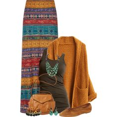 maxi skirt earth tones ... by yellow-rose-1 on Polyvore featuring moda, VILA, Monsoon, Patricia Green, Billabong, H&M and Federica Rettore