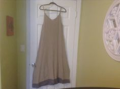 Chic Lagenlook 100% Linen Oatmeal Color Tank Style Maxi Dress Aly Wear Size M #Maxi