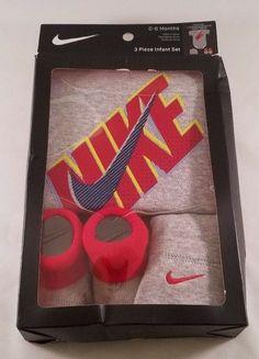 Details about 3 Piece Infant Set Nike Cap Bodysuit Booties 0-6 Months  Vintage Heather NIB. Ebay Shopping e4fd4f379d02