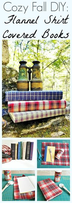 Why create fabric covered books when you can create FLANNEL covered books instead? This is the ultimate cozy decorating accessory for fall and winter- repurpose hardcover books and flannel shirts from the thrift store into delightful flannel wrapped books. Super easy to make, this upcycling project is the perfect way to add cozy plaid decor- AND you can still read the books when you're done...BONUS! Follow this DIY tutorial from Sadie Seasongoods / www.sadieseasongoods.com